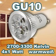 LED Retrofit GU10 4x1W warmweiß 400lm