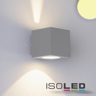 LED Wandleuchte UP&Down IP54, 2x3W CREE, silber, warmweiss